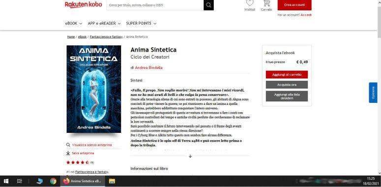 Anima Sintetica cyborg androidi fantascienza andrea bindella autore piu venduto kobo febbraio